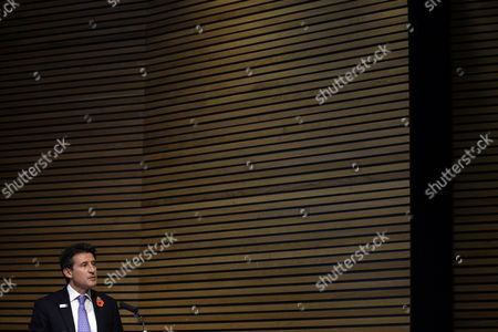 Stock Photo of British Olympian Lord Sebastian Coe makes a speech during the unveiling of a photographic exhibition by Brian Griffin during a launch to mark 1000 days to go until the start of the London 2012 Olympics at the National Portrait Gallery in London, . The Road to 2012 Project will take the form of 100 photographic portraits by various photographers of the people around Britain involved in making the 2012 Olympic games happen