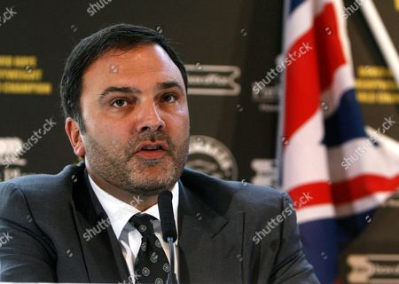 Richard Schaefer, Chief Executive of Golden Boy Promotions, who represents new WBA Heavyweight champion of the world David Haye, unseen, in the U.S. during a press conference in London