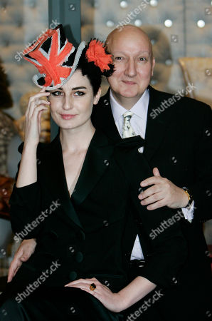 Stephen Jones, Erin O' Connor Hat designer Stephen Jones, right, poses for pictures with British model Erin O' Connor, wearing the 'Anna P.' a Union Jack hat, a creation by designer Anna Piaggi, from the spring-summer collection 2008, during a photo-op for the upcoming fashion exhibition 'Hats: An Anthology, co-curated by by Jones, at the V&A museum in London, . The exhibition which will display more than 300 hats opens on Feb. 24 and will run til May 10, 2009