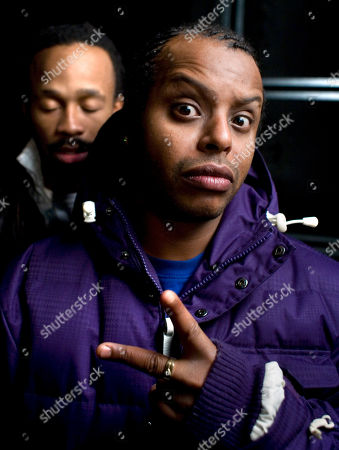 Tshawe Baqwa, Yosef Wolde-Mariam Tshawe Baqwa (Kapricon), foreground, and Yosef Wolde-Mariam (Critical) of the Norwegian hip hop band MadCon pose in the AP studio in London