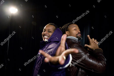 Tshawe Baqwa, Yosef Wolde-Mariam Tshawe Baqwa (Kapricon) and Yosef Wolde-Mariam (Critical) of the Norwegian hip hop band MadCon pose in the AP studio in London