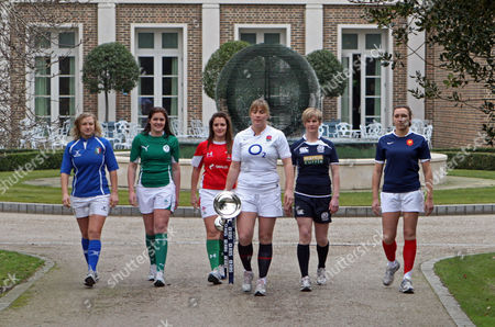 Paula Zangirolami, Fiona Coughlan, Catriona Nicholas, Catherine Spencer, Lynn Reid, Sandra Rabier Left to right, Italy's Paula Zangirolami, Ireland's Fiona Coughlan, Wales' Catriona Nicholas, England's Catherine Spencer, Scoland's Lynn Reid and France's Sandra Rabier to a photo opportunity during the launch of the Women's RBS 6 Nations Rugby tournament at the Hurlingham Club, London