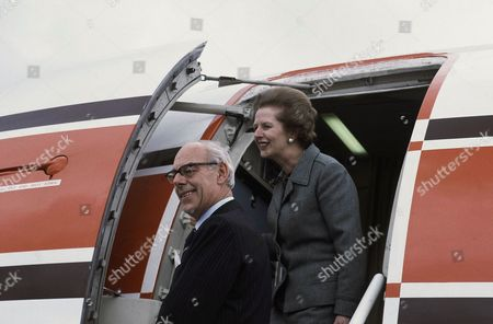 Margaret Thatcher, Denis Thatcher British Prime Minister Margaret Thatcher with husband arriving in England?s West Country in 1983