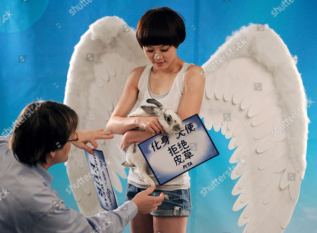 "Sun Li A member of People for the Ethical Treatment of Animals (PETA) Asia, left, adjusts a sign held by Chinese actress Sun Li dressed as an angel during a photo shoot for a new anti-fur ad for PETA Asia in Beijing, . The sign reads: ""Be an angel, Don't wear fur"