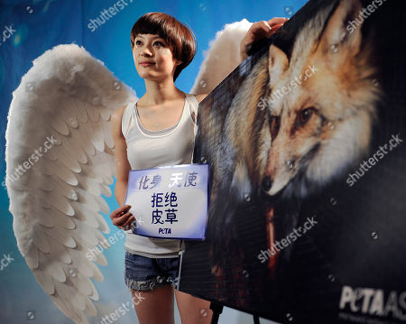 "Sun Li Chinese actress Sun Li dressed as an angel holds slogans that read: ""Be an Angel, Don't wear Fur"" as she stands next to an image of fox during a photo shoot for a new anti-fur ad for People for the Ethical Treatment of Animals (PETA) Asia in Beijing"