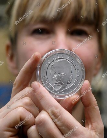 Jane McAdam Freud Medals commemorating 70th anniversary of death of Austrian founder of psychoanalysis Sigmund Freud, designed by his great-granddaughter British artist Jane McAdam Freud, are displayed in Jablonec nad Nisou, Czech Republic . Freud died on Sept. 23, 1939