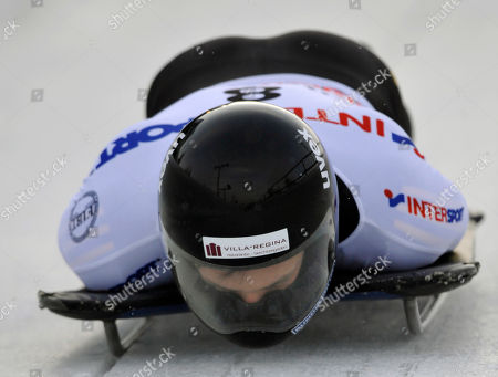 Michi Halilovic Michi Halilovic of Germany is seen during the second run to win the FIBT Skeleton Men's World Cup competition in Altenberg, Germany