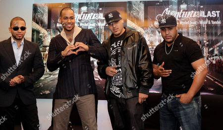 Mikey Agende Santos, Anthony Romeo Santos, Henry Santos, Lenny Santos Members of the musical group Aventura, from left, Mikey Agende Santos, Anthony Romeo Santos, Henry Santos and Lenny Santos pose during a news conference in Mexico City