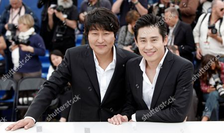 Song Kang-Ho, Shin Ha-Kyun South Korean actor Song Kang-Ho, left, and South Korean actor Shin Ha-Kyun pose during a photo call for the film 'Bak-Jwi' (Thirst) at the 62nd International film festival in Cannes, southern France