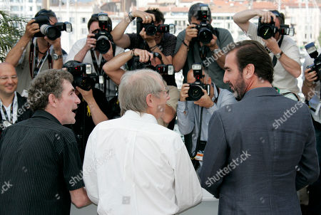 Steve Evets, Ken Loach, Eric Cantona French actor and former soccer player Eric Cantona, right, British Director Ken Loach, center, British actor Steve Evets, left, during a photo call for the film 'Looking for Eric', during the 62nd International film festival in Cannes, southern France