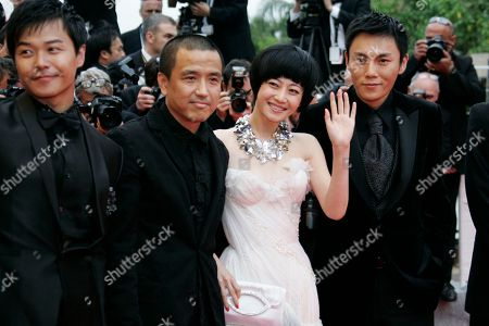 Wei Wu, Lou Ye, Zhuo Tan, Hao Qin Chinese director Lou Ye, second from left, arrives with cast members, from right, Wei Wu, Zhuo Tan and Hao Qin for the screening of 'Chun Feng Chen Zui De Ye Wan' (Spring Fever) during the 62nd International film festival in Cannes, southern France