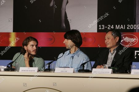 Stock Image of Emile Hirsh, Demetri Martin, Ang Lee From left, American actors Emile Hirsh, Demetri Martin and Taiwanese director Ang Lee at a press conference for the film 'Taking Woodstock', during the 62nd International film festival in Cannes, southern France