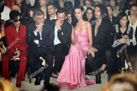 Prince, Sydney Toledano, Alexis Roche, Katy Perry, Russel Brand, Leigh Lezark From left, U.S. singer Prince, Dior CEO Sidney Toledano, John Galliano's friend Alexis Roche, U.S. singer Katy Perry and her boyfriend British actor Russel Brand, and American DJ and model Leigh Lezark, right, attend John Galliano' Spring-Summer 2010 fashion collection, presented in Paris