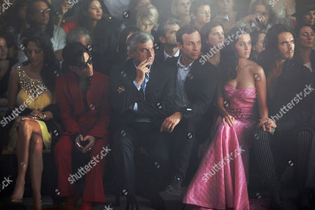 Bria Valente, Prince, Sydney Toledano, Alexis Roche, Katy Perry, Russel Brand From left, U.S. singers Bria Valente, Prince, Dior CEO Sidney Toledano, John Galliano's friend Alexis Roche, U.S. singer Katy Perry and her boyfriend British actor Russel Brand attend John Galliano' Spring-Summer 2010 fashion collection, presented in Paris
