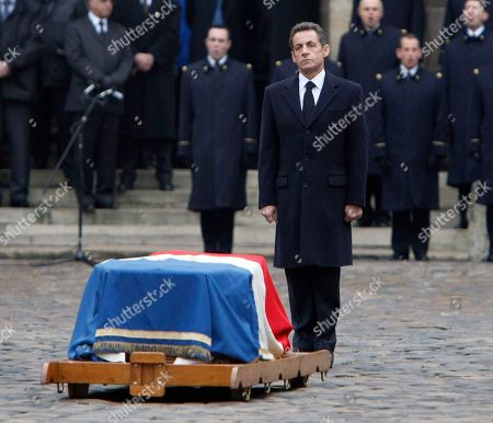 Nicolas sarkozy, Philippe Seguin French President Nicolas Sarkozy pays respect to former minister and parliament speaker Philippe Seguin as his coffin lies outside Saint-Louis des Invalides church in Paris during his funeral ceremony in Paris, . Philippe Seguin died at the age of 66 of a heart attack