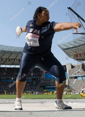 Aretha Thurmond of the United States competes in Women's Discus qualifying during the World Athletics Championships in Berlin on