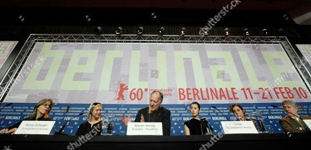 Cornelia Froboess, Renee Zellweger, Werner Herzog, Yu Nan, Francesca Comencini, Jose Maria Morales From left, Berlinale jury members German actress Cornelia Froboess, U.S. actress Renee Zellweger, Jury president and German director Werner Herzog, Chinese actress Yu Nan, Italian director Francesca Comencini and Spanish producer Jose Maria Morales attend the Jury press conference at the International Film Festival Berlinale in Berlin, Germany, . The 60th International Film Festival, Berlinale, takes place from Feb. 11 to Feb. 21, 2010