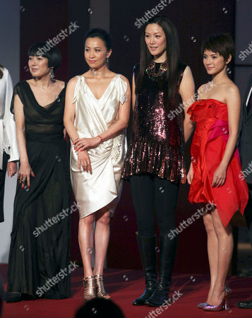 Kaori Momoi, Carina Lau, Qi Qi, Angelica Lee From left, Japan's actress Kaori Momoi, Hong Kong actress Carina Lau, Hong Kong model Qi Qi and Malaysia actress Angelica Lee pose during an event to promote a cosmetic product in Hong Kong