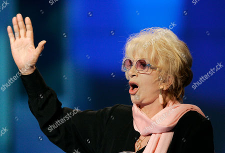 "Franca Rame Franca Rame, wife of the Italian Nobel prize winner Dario Fo, gestures during the Italian State RAI TV program ""Che Tempo che Fa"", in Milan, Italy"
