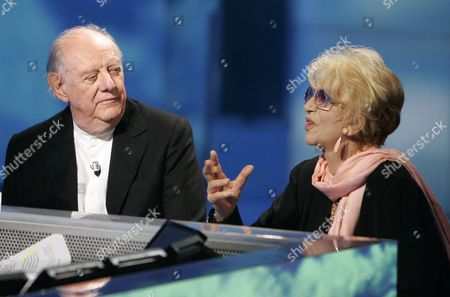 "Dario Fo, Franca Rame Italian Nobel prize winner Dario Fo, left, and his wife Franca Rame gesture during the Italian State RAI TV program ""Che Tempo che Fa"", in Milan, Italy"