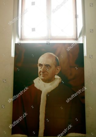 A portrait of Pope Paul VI inside the house where Giovanni Battista Montini, that later became Pope Paul VI, was born in Concesio, near Brescia, Italy, . Pope Benedict XVI will visit the house on Nov. 8, in a visit marking the 30th anniversary of his death