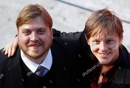 """Stock Picture of Nicholas Bro, Thure Frank Lindhardt Danish actors Nicholas Bro, left, and Thure Frank Lindhardt smile as they arrive to present the movie """"Brotherskab"""" at the 4th edition of the Rome Film Festival, in Rome, . The festival runs from Oct. 15 to Oct. 23"""