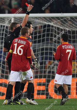 Alexander Doni AS Roma goalkeeper Alexander Doni of Brazil, at left in background, is shown the red card from the referee during the Serie A soccer match between AS Roma and Chievo at Rome's Olympic stadium
