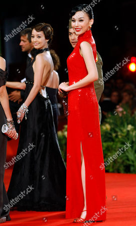 Actress Xuan Zhu, right, and actress Terri Kwan arrive for the screening of the film ' Lei Wangzi ' (Prince of Tears) at the 66th edition of the Venice Film Festival in Venice, Italy