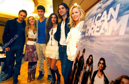 "Michael Herwick, Kara Killmer, Benjamin Elliot, Giglianne Braga, Justin Gaston Amanda Phillips From left to right; American producer Michael Herwick, Kara Killmer, Benjamin Elliot, Giglianne Braga, Justin Gaston and Amanda Phillips pose for photographers during a promotional event of new online show ""IF I CAN DREAM"" in Tokyo, Japan"