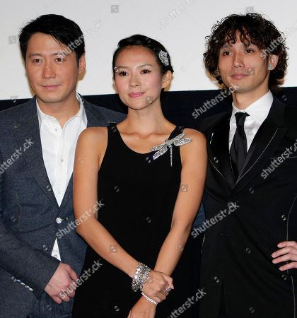 "Zhang Ziyi, Leon Lai, Masanobu Ando Hong Kong actor-singer Leon Lai, Chinese actress Zhang Ziyi and Japanese actor Masanobu Ando, from left, pose together on stage prior to Japan Premier of their film ""Forever Enthralled,"" directed by China's Chen Kaige, in Tokyo"