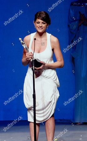 """Irene Azuela Mexican actress Irene Azuela accepts her Ariel award for best actress for her role in """"Bajo la Sal """" at the 51st annual Mexican Academy Awards in Mexico City"""