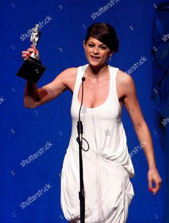 """Irene Azuela Mexican actress Irene Azuela accepts her Ariel award for best actress for her role in """"Bajo la Sal """" at the 51st annual Mexican Academy Awards in Mexico City. Azuela has been nominated for another Ariel award, this time for best actress for her role in """"Las oscuras primaveras."""" The 2015 ceremony will be held on May 27 in Mexico City"""