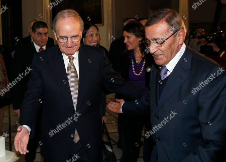 George Mitchell, Ali Shami U.S Middle East envoy George Mitchell, left, and Lebanese Foreign Minister Ali Shami, welcome each other upon their arrival at the Lebanese foreign ministry, in Beirut, Lebanon, . Mitchell arrived in Beirut for a two-day visit to meet with Lebanese officials and to talk about the Middle East peace process