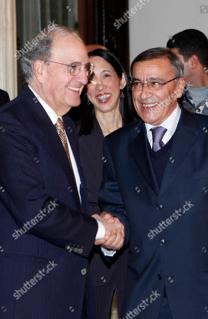 George Mitchell, Ali Shami U.S Middle East envoy George Mitchell, left, shakes hands with Lebanese Foreign Minister Ali Shami, at the Lebanese foreign ministry, in Beirut, Lebanon, . Mitchell arrived in Beirut for a two-day visit to meet with Lebanese officials and to talk about the Middle East peace process