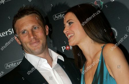 Kirsty Gallacher, Paul Sampson British television presenter Kirsty Gallacher, right with British rugby player Paul Sampson, seen, before taking part in the 'Ante Up for Africa' European celebrity charity poker tournament, in Monaco