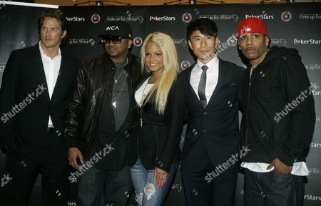 The Dream, Christina Milian, Nelly, Jason Lewis, James Kyson Lee Left to right, US actor and former fashion model, Jason Lewis, US singer and songwriter, Terius Youngdell Nash alias The Dream, US R&B and pop singer-songwriter, Christina Milian, US actor James Kyson Lee and US hip hop artist Nelly, pose before taking part in the 'ante up for africa' celebrity charity poker tournament in Monaco