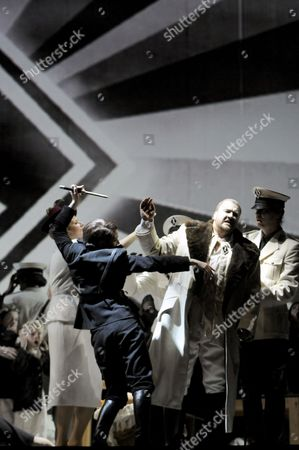 """This file picture shows German tenor Torsten Kerl, right, in the role of Rienzi and American mezzo-soprano Kate Aldrich, left, in the role of Adriano, in a szene of the fourth act of the opera 'Rienzi' by Richard Wagner, at the Deutsche Oper Berlin during the so called Wagner weeks. The Berlin production turns Wagner's """"Rienzi"""" into a cautionary tale of 20th century fascism.Der Fuehrer would look kindly on the new production of """"Rienzi"""" that's playing at the Deutsche Oper of Berlin. Director Philipp Stoelzl has turned the title character from a 14th century Roman tribune into a 20th century fascist demagogue in an Alpine country that could easily be Germany. The chorus, directed by William Spaulding, got a huge and deserved ovation for its yeoman work all night. The splendid orchestra was conducted with vigor by Sebastian Lang-Lessing"""