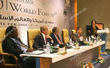 Stock Picture of Sudanese lawmaker Salih Mahmoud Osman, left, Jackson Diehl, Deputy Editorial Page Editor of The Washington Post, second from left, Ahmed Rashid, a freelance Writer and journalist from Pakistan, center, U.S. congressman Keith Ellison, second from right, and moderator Raghida Dergham, right, senior diplomatic correspondent for the London-based Al Hayat newspaper, are seen during the opening session of a talk entitled 'The Obama administration and the Muslim World', on the third day of the U.S.-Islamic World Forum in Doha, Qatar
