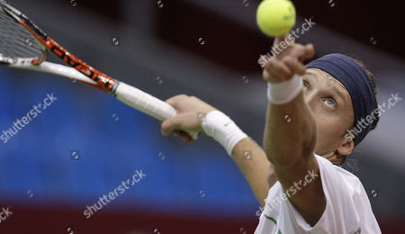 Dmitri Sitak Dmitri Sitak of Russia, serves to Nicolas Kiefer of Germany during the Kremlin Cup tennis tournament in Moscow, Russia