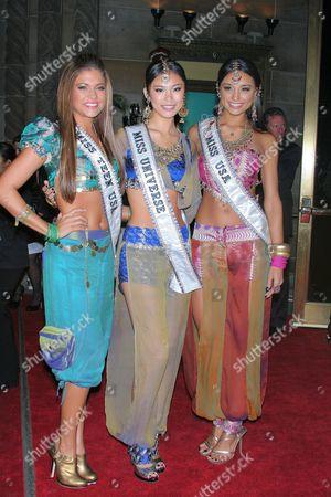 Miss Teen USA 2007 Hilary Cruz, Miss Universe Riyo Mori and  Miss USA 2007 Rachel Smith