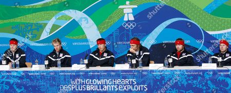 Stock Image of Ted Ligety, Marco Sullivan, Steven Nyman, Andrew Weibrecht, Erik Fisher From left, U.S. Alpine Ski team's Marco Sullivan, Ted Ligety, Bode Miller, Steven Nyman Erik Fisher and Andrew Weibrecht meet the media during a news conference at the Vancouver 2010 Olympics in Whistler, British Columbia