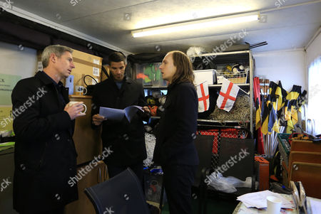 Matt Smith and David James enjoy a coffee in the Youth Storage area during Merstham vs Oxford United, Emirates FA Cup Football at the Moatside, Weldon Way on 5th November 2016