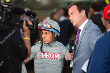 SANTA ANITA. The Breeders Cup Classic. VICTOR ESPINOZA after California Chrome was beat with interviewer Nick Luck.