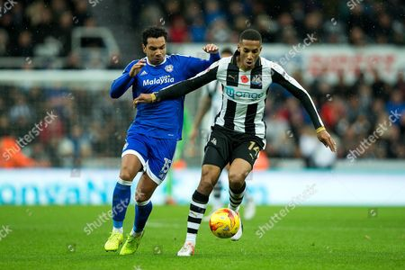 Newcastle United midfielder Isaac Hayden (#14) takes on Cardiff City midfielder Kieran Richardson (#15) during the EFL Sky Bet Championship match between Newcastle United and Cardiff City at St. James's Park, Newcastle