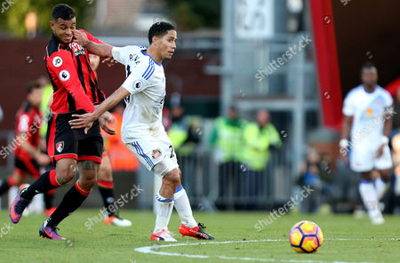 Steven Pienaar of Sunderland holds back Joshua King of Bournemouth during the Premier League match between AFC Bournemouth and Sunderland played at the Vitality Stadium, Bournemouth on 5th November 2016