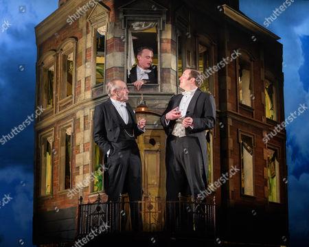 Clive Francis (Mr Birling), Hamish Riddle (Eric Birling), Matthew Douglas (Gerald Croft)