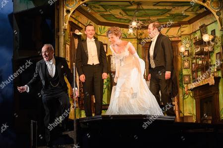 Clive Francis (Mr Birling), Hamish Riddle (Eric Birling), Carmela Corbett (Sheila Birling), Matthew Douglas (Gerald Croft).