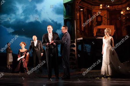 Barbara Marten (Mrs Birling), Clive Francis (Mr Birling), Matthew Douglas (Gerald Croft), Liam Brennan (Inspector Goole), Carmela Corbett (Sheila Birling).