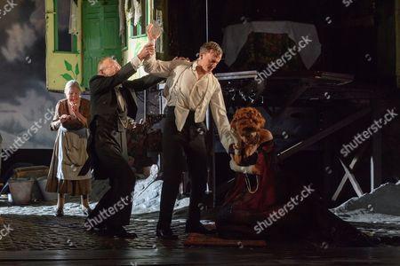Diana Payne-Myers (Edna), Clive Francis (Mr Birling), Hamish Riddle (Eric Birling), Barbara Marten (Mrs Birling).