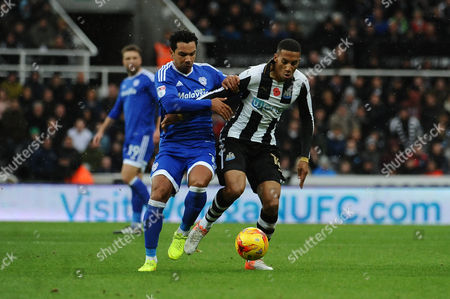 Isaac Hayden of Newcastle United battles with Kieran Richardson of Cardiff City during Newcastle United vs Cardiff City, Sky Bet EFL Championship Football at St. James' Park on 5th November 2016